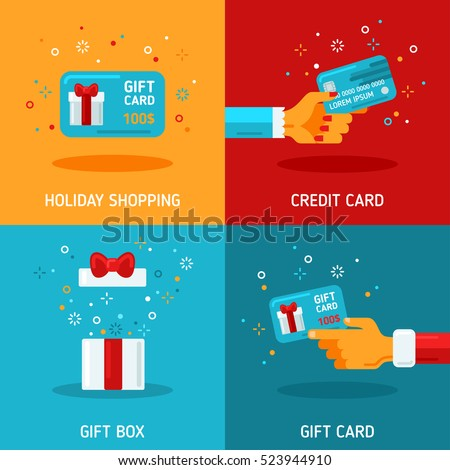 Flat Design Concepts about Holiday Gift Cards. Vector illustration. Man and Woman Hands Holding Coupon, Box with Open Top, Surprise. Christmas and New Year Shopping