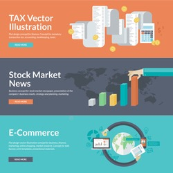 Flat design concepts for business and finance. Concepts for finance, taxes, bookkeeping, accounting, stock market news, strategy and planning, marketing, e-commerce, market research, business.