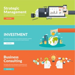 Flat design concepts for business, finance, strategic management, investment, natural resources, consulting, teamwork, great idea. Concepts for web banners and promotional materials.