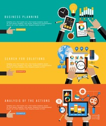 Flat design concepts for business planning, search for solutions, analysis of the action. Banners for websites. Icons for web design. Modern background with human hands and colored icons.
