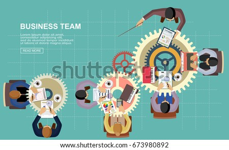 Flat design concepts for business teams and analysis, planning strategies, monitoring, research and development. On gear backlash. Vector illustration for web banner