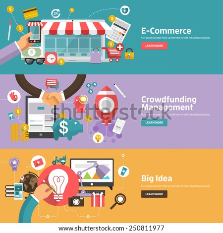 Flat design concepts for E-commerce, Crowdfunding Management, Big Idea Concepts for web banners and promotional materials.