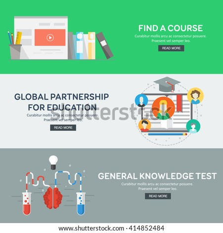 Flat design concepts for general knowledge, global partnership, find a course. Concepts for web banners and promotional materials. Vector illustration.