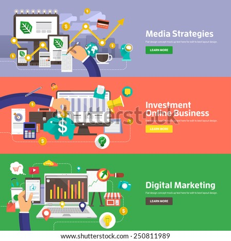 Flat Design Concepts For Media Strategies Investment