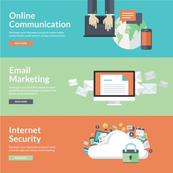 Flat design concepts for online communication, social network, strategic communication, email marketing, internet security, cloud computing. Concepts for web banners and promotional materials.