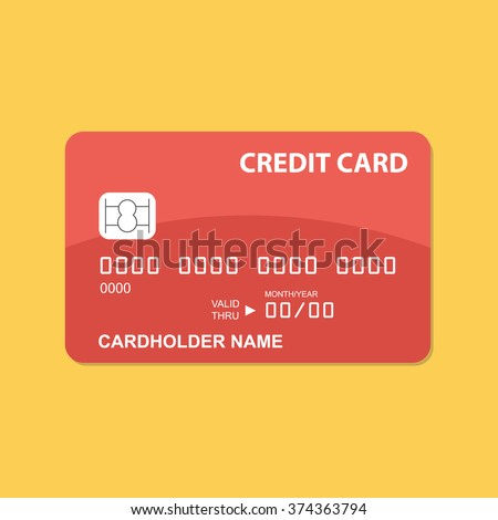 Flat design credit card template.