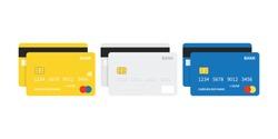 Flat design credit cards set isolated on white background.