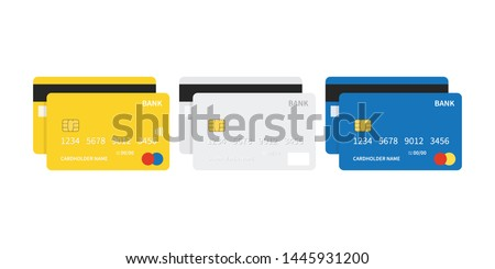 Flat design credit cards set isolated on white background.