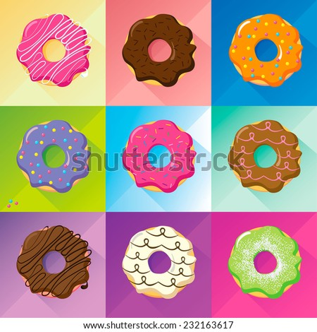 flat design donuts  set  vector
