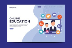 Flat design e-learning or online education landing page template  Vector.