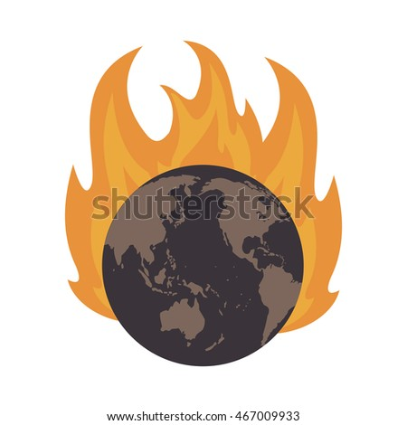 flat design earth globe on fire