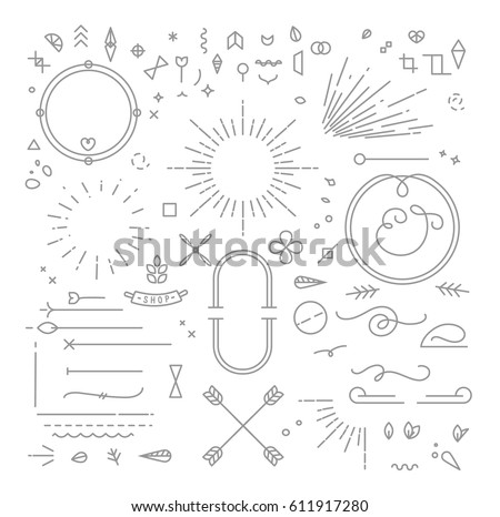 Flat design elements in vintage style drawing with gold lines on blue background