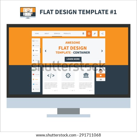 Flat design elements template for webdesign with main for Html side menu bar template