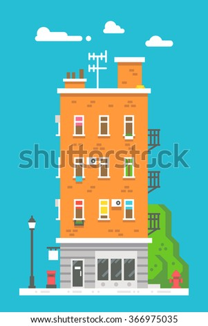 Flat design european colorful apartment illustration vector