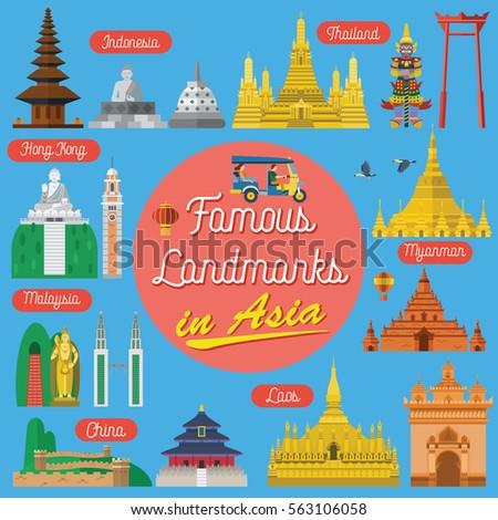 Flat design, Famous landmarks in Asia, vector