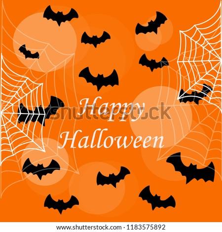Flat design flying bat. Happy Hallowen. Hallowen party poster design. Vector illistration. Stock photo ©