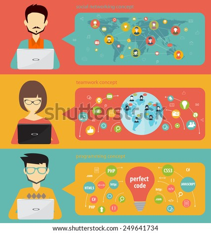 flat design for social networking, teamwork and programming, banner concept