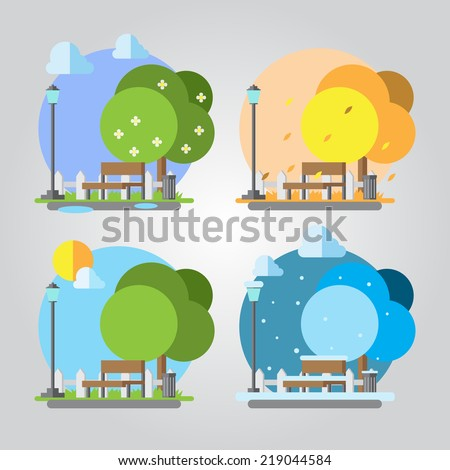 Flat design four seasons park illustration