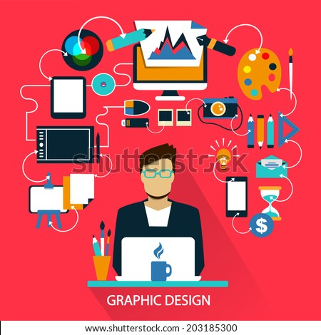 Flat design . Freelance career. Graphic design.