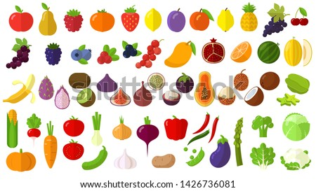 Flat design fresh raw fruits and vegetables vector icon set.