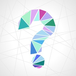 flat design geometric triangle question mark symbol vector illustration in low poly style