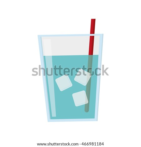flat design glass of water with