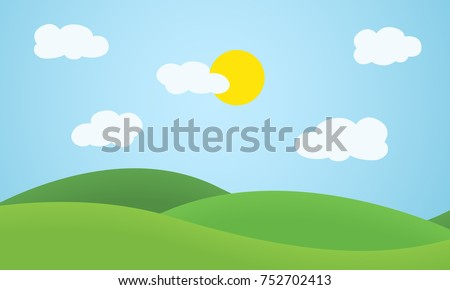 Flat design grass landscape with hills, clouds and glowing sun under blue sky - vector