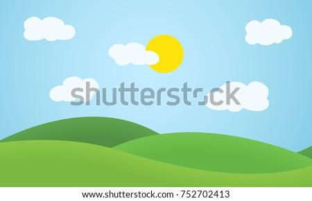 flat design grass landscape