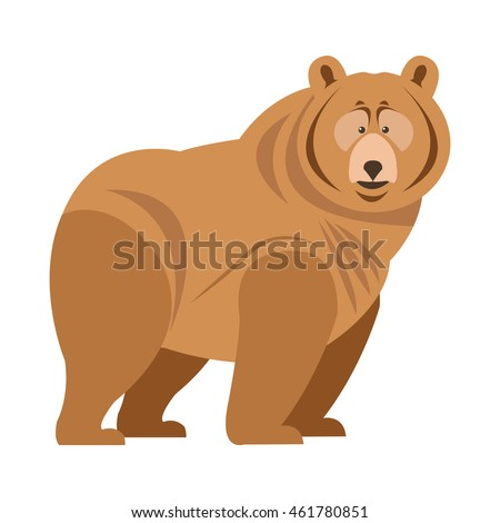flat design grizzly bear icon