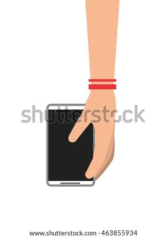 flat design hand holding modern cellphone icon vector illustration #463855934
