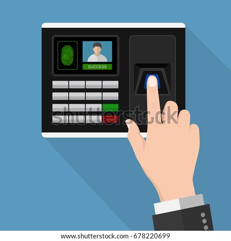 Flat Design human hand scanning with finger scan on access control machine  ,vector design Element illustration