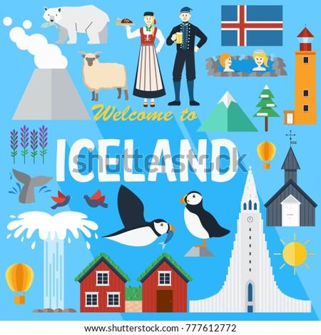 flat design  iceland landmarks
