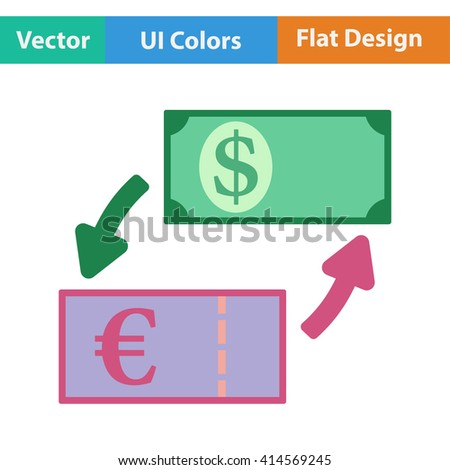 Flat design icon of currency dollar and euro exchange in ui colors. Vector illustration.