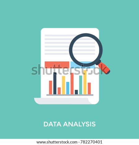 Flat design icon of focused magnifying glass on bar graph, concept of data analysis