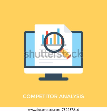 Flat design icon of online competitor analysis or market research