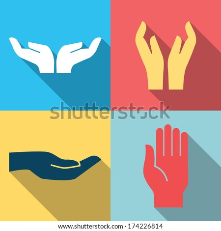 Flat design icon set of hands in many and different gesture. Vector illustration.