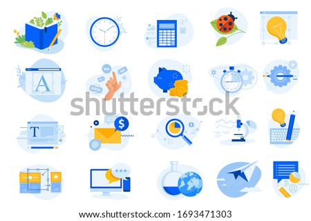 Flat design icons collection. Vector illustrations for graphic design, data analysis, market research, project management, online communication, social media, email marketing, shopping, savings.