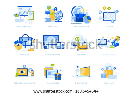 Flat design icons collection. Vector illustrations for project management, mobile apps and services, social network, cloud services, e-commerce and m-commerce, internet security, e-banking, SEO.