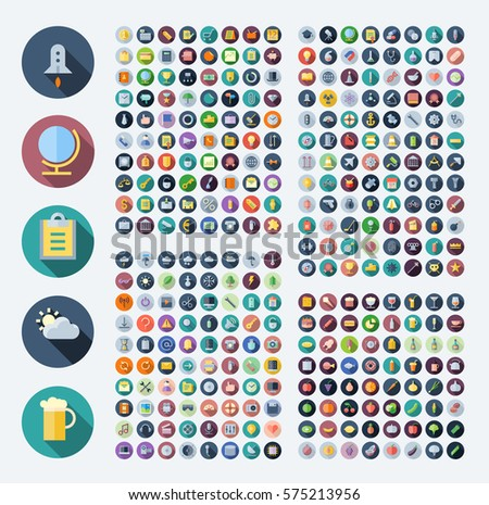 Flat design icons for business, technology, industrial, user interface, food and drinks. Vector illustration.