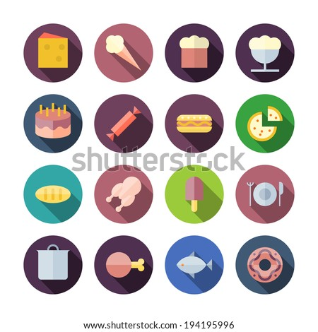 Flat Design Icons For Food. Vector illustration eps10, transparent shadows.
