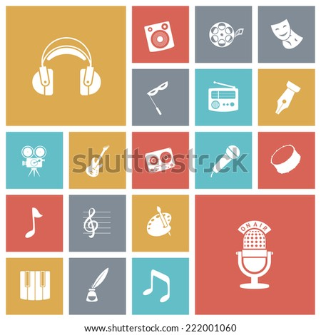Flat design icons for music and sound. Vector illustration.