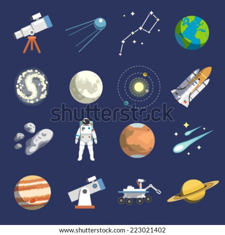 flat design icons of astronomy