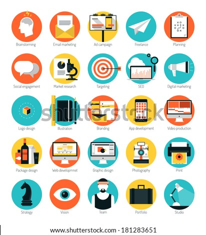 Flat design icons set modern style vector illustration concept of web development service, social media marketing, graphic design, business company branding items and advertising elements.