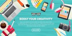 Flat design illustration concept for education, study, career training, teamwork, business learning. Isolated workspace elements on wood desktop background - laptop, tablet, pantone, palette, headset