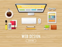 Flat design illustration concept for webdesign, web banners, business templates and commercial banners