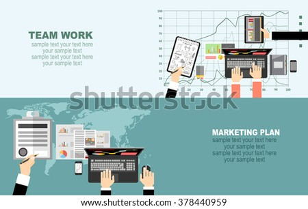Flat design illustration concepts for business analysis and planning, consulting, team work, project management, brainstorming, research and development. Concepts web banner and printed materials.