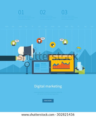 Flat design illustration concepts for business analysis for Digital marketing materials