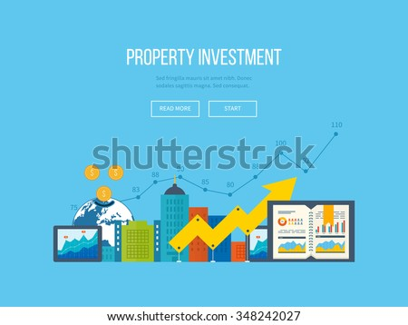 Flat design illustration concepts for business analysis and planning, financial report and strategy. Business diagram graph chart. Investment growth. Investment business. Property investment