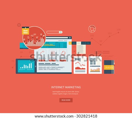 Flat design illustration concepts for business analysis and planning, online shopping, financial report, project management and development. Concepts web banner and printed materials.