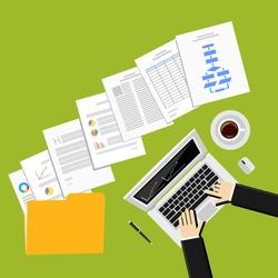 Flat design illustration for business report, business documents, businessman, working, management.